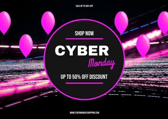 Gift Card template: Neon Pink Cyber Monday Sale Gift Card (Created by InfoART's Gift Card maker)