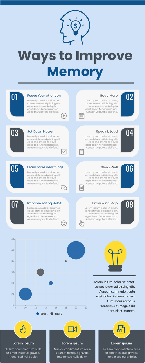 Infographic template: Ways To Improve Memory Infographic (Created by InfoART's Infographic maker)