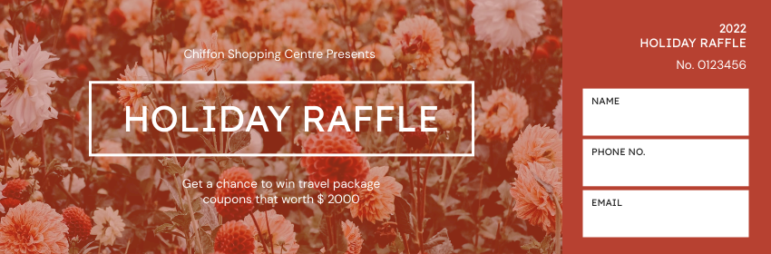 Ticket template: Shopping Centre Holiday Raffle Ticket (Created by InfoART's Ticket maker)