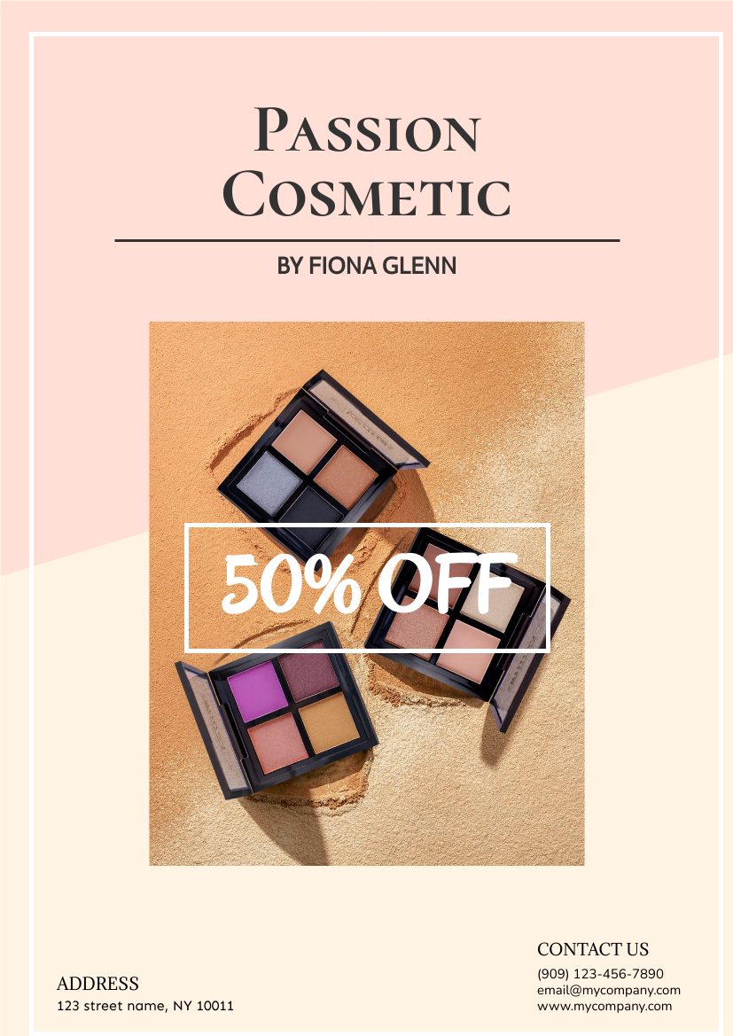 Flyer template: Passion Cosmetic Flyer (Created by InfoART's Flyer maker)