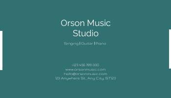 Business Card template: Dark Green Photo Music Studio Business Card (Created by InfoART's Business Card maker)