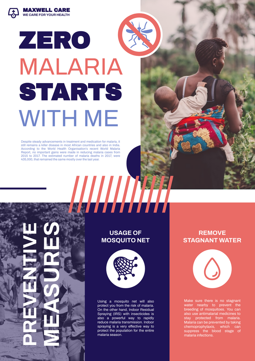 Poster template: Malaria Preventive Poster (Created by InfoART's Poster maker)