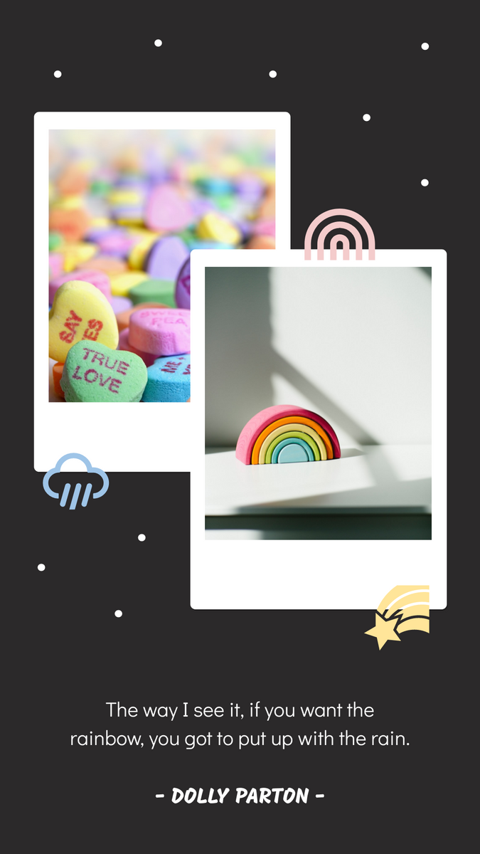 Instagram Story template: Simple Pastel Color Polaroid Quotes Instagram Story  (Created by InfoART's Instagram Story maker)