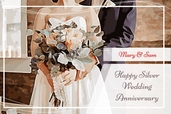 Greeting Card template: Silver Wedding Anniverdsary Greeting Card (Created by InfoART's Greeting Card maker)