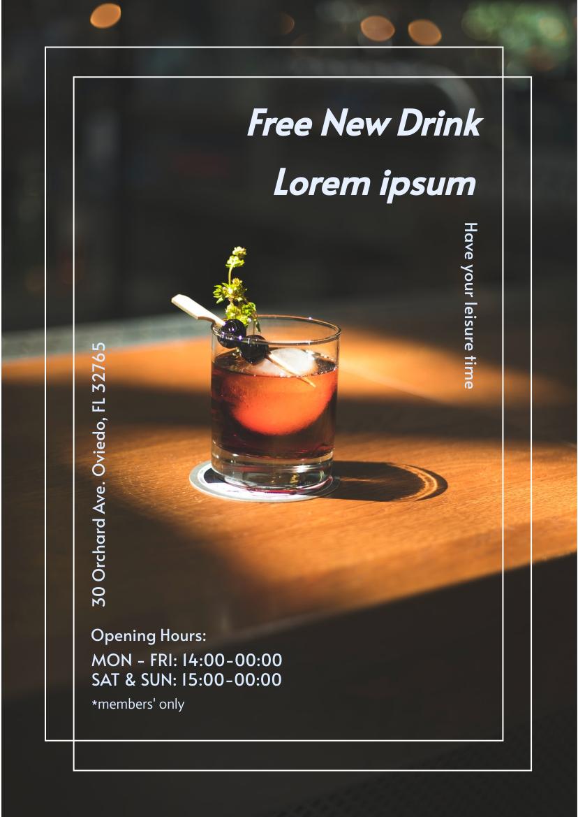 Flyer template: Free Drink Promotion Flyer (Created by InfoART's Flyer maker)
