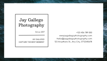 Business Card template: Deep Blue Sea Photography Business Card (Created by InfoART's Business Card maker)