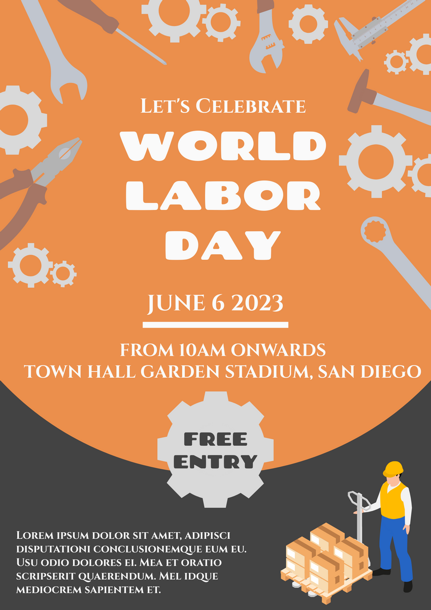 Poster template: Orange World Labor Day Poster (Created by InfoART's Poster maker)