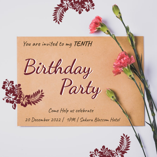 Invitation template: Elegant Floral Tenth Birthday Party Invitation (Created by InfoART's Invitation marker)