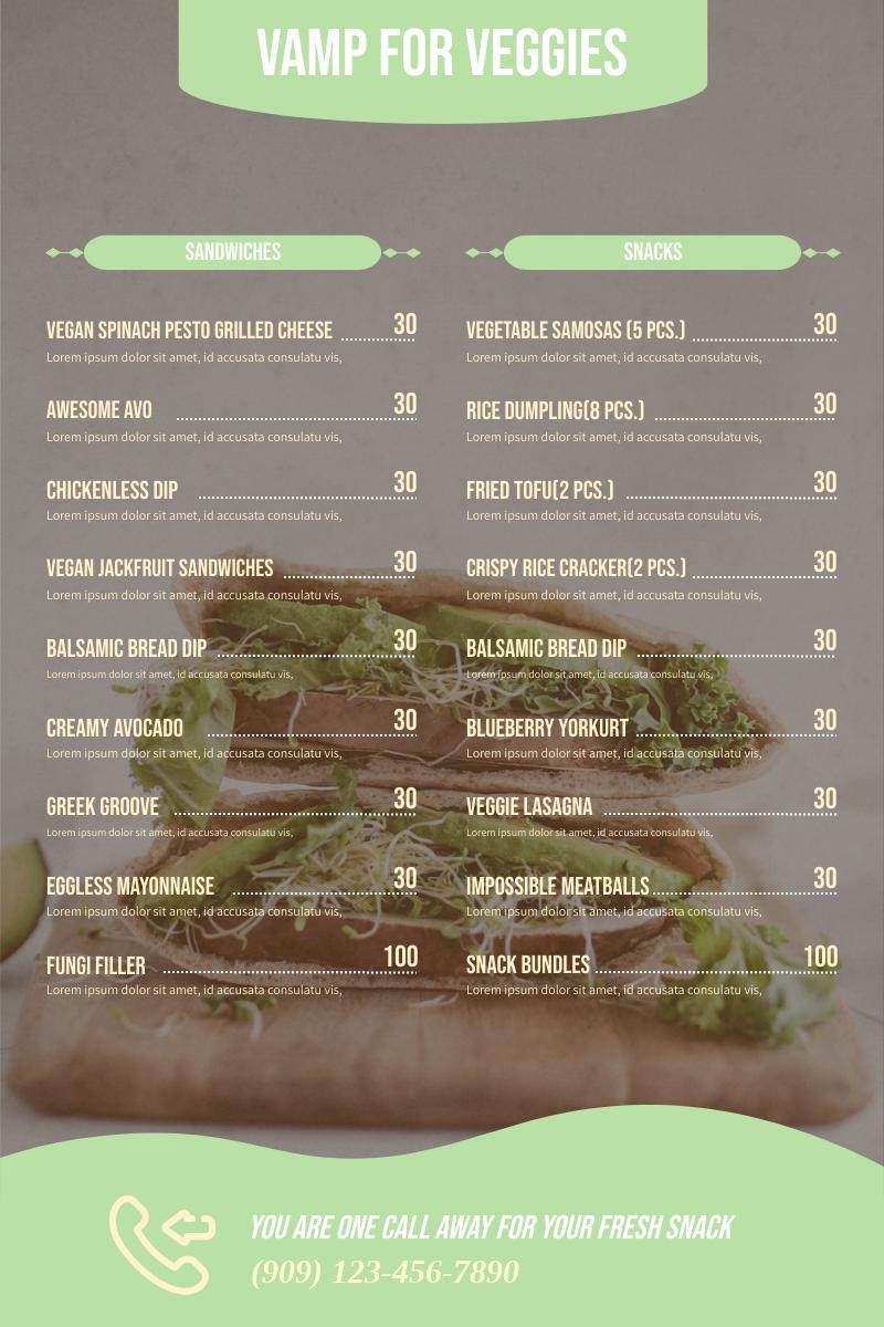 Menu template: Vegan Menu (Created by InfoART's Menu maker)