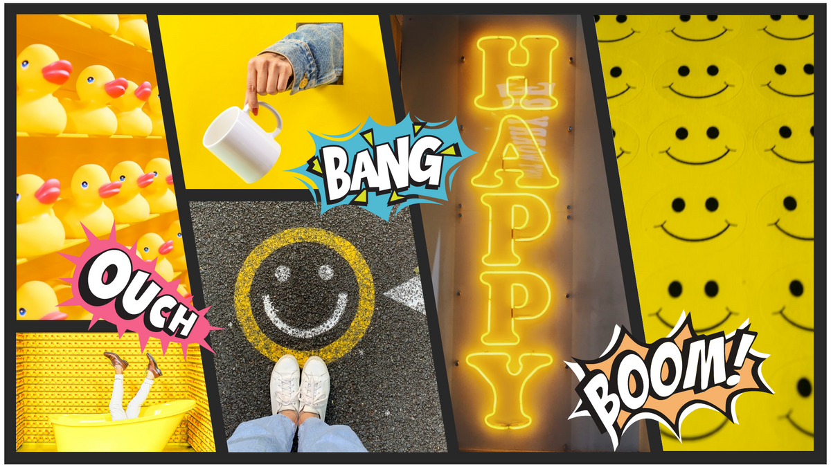 Comic Strip template: Happy Yellow Comic Strip (Created by Collage's Comic Strip maker)