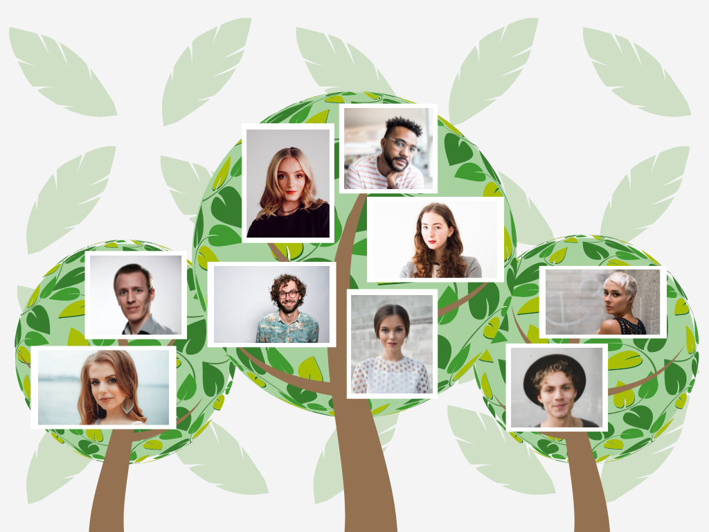 Family Tree template: Circle Tree Family Tree (Created by Collage's Family Tree maker)