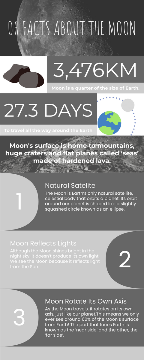 Infographic template: 6 Facts Regarding Our Moon Infographic (Created by InfoART's Infographic maker)