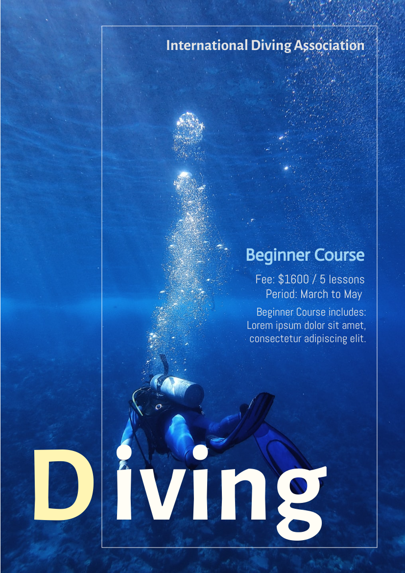 Flyer template: Diving Course For Beginners Flyer (Created by InfoART's Flyer maker)