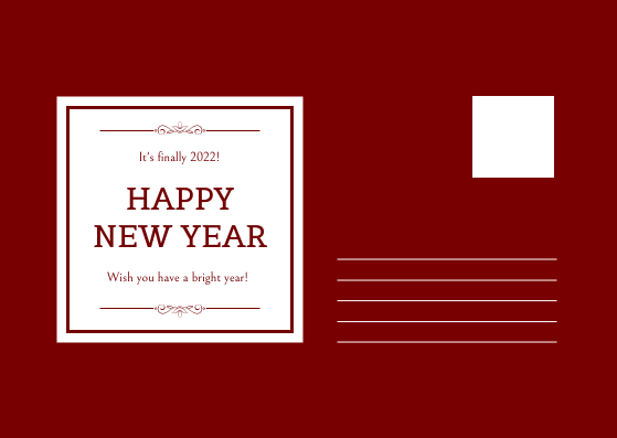 Postcard template: Red New Year Fireworks and Bow Tie Postcard (Created by InfoART's Postcard maker)