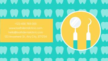 Business Card template: Yellow And Green Cartoon Dental Clinic Business Card (Created by InfoART's Business Card maker)