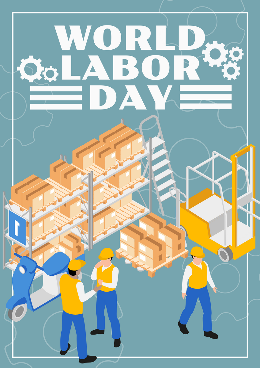 Poster template: Green Blue Labor Day Poster (Created by InfoART's Poster maker)