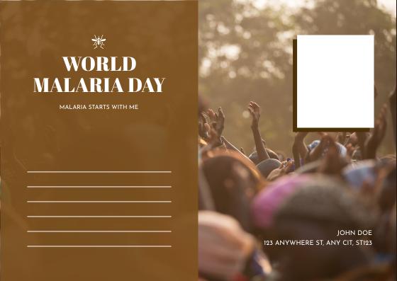 Postcard template: Brown Photo World Malaria Day Postcard (Created by InfoART's Postcard maker)