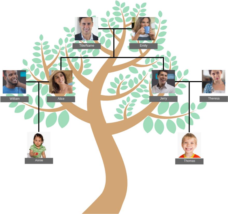 Family Tree template: Basic Family Tree (Created by Diagrams's Family Tree maker)