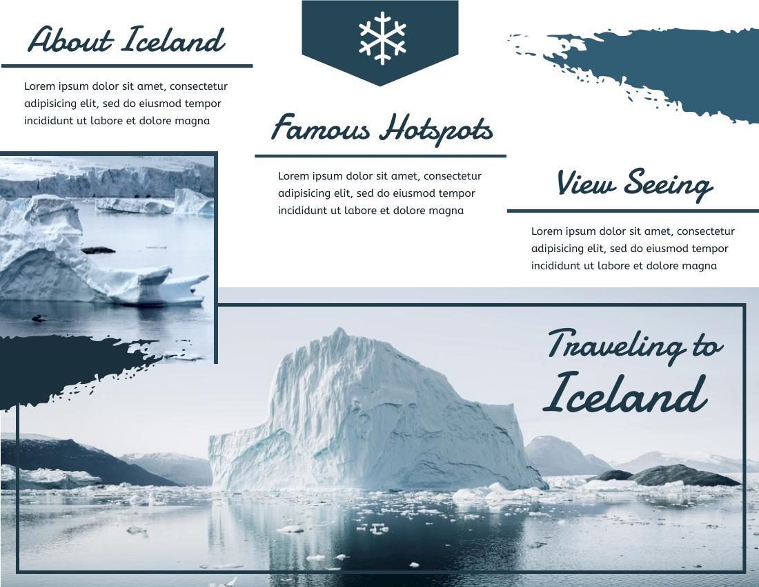 Brochure template: Traveling To Iceland Brochure (Created by InfoART's Brochure marker)