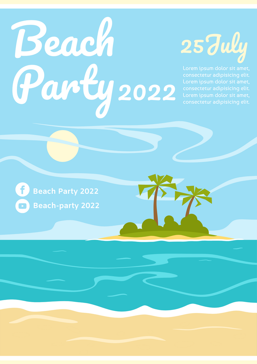 Poster template: Beach Party Poster (Created by InfoART's Poster maker)