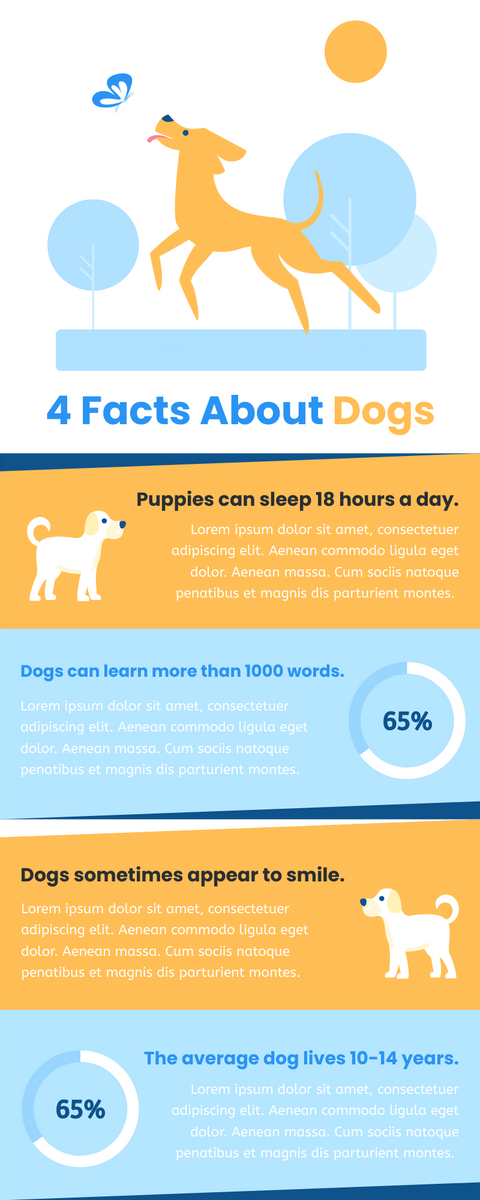 Infographic template: 4 Facts About Dogs Infographic (Created by InfoART's Infographic maker)