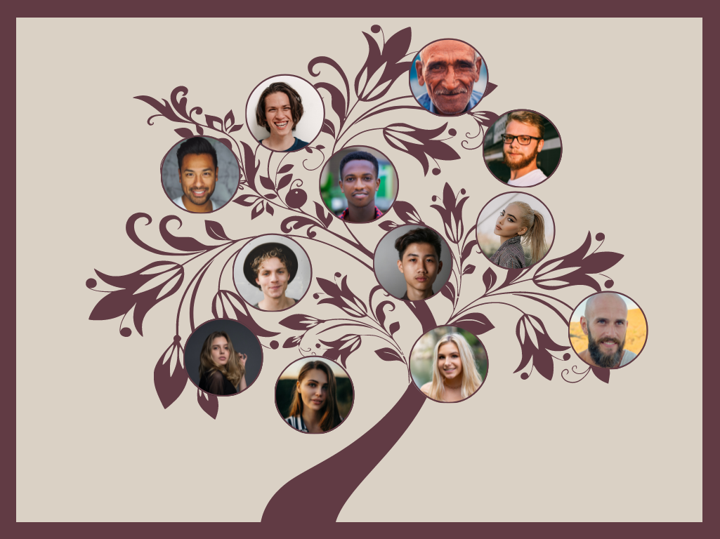Family Tree template: Flower Tree Graphic Family Tree (Created by Collage's Family Tree maker)