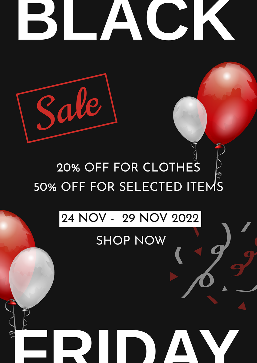 Poster template: Red And Black Balloon Black Friday Sale Poster (Created by InfoART's Poster maker)