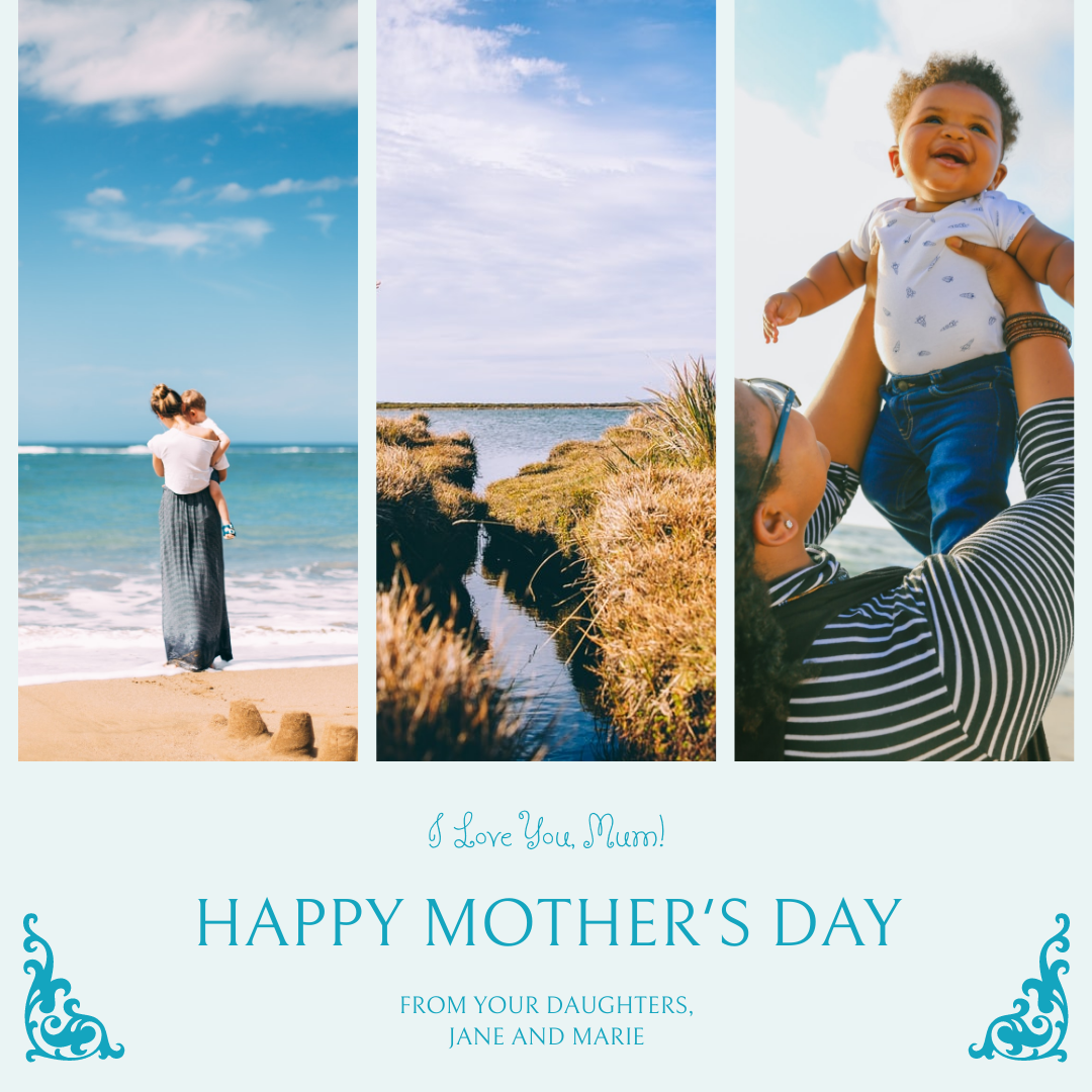 Instagram Post template: Blue Photos Mother's Day Instagram Post (Created by InfoART's Instagram Post maker)