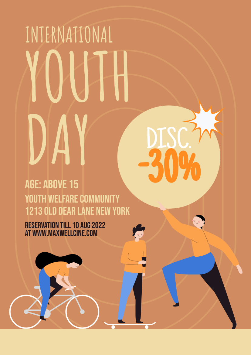 Flyer template: Youth Day Online Store Discount Flyer (Created by InfoART's Flyer maker)