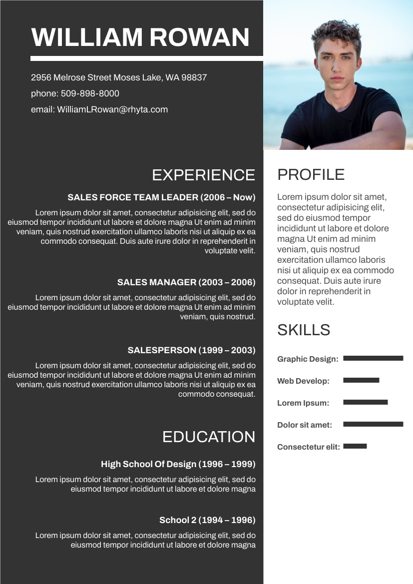 Resume template: Black and White Theme Resume (Created by InfoART's Resume maker)