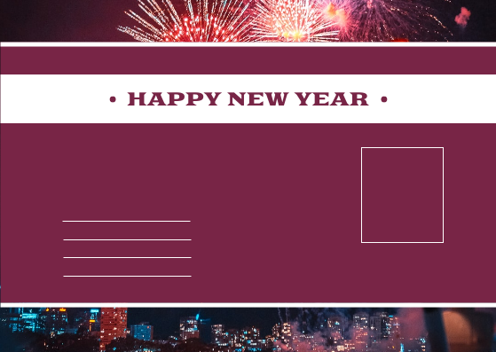 Postcard template: Red Purple Fireworks Background New Year Postcard (Created by InfoART's Postcard maker)