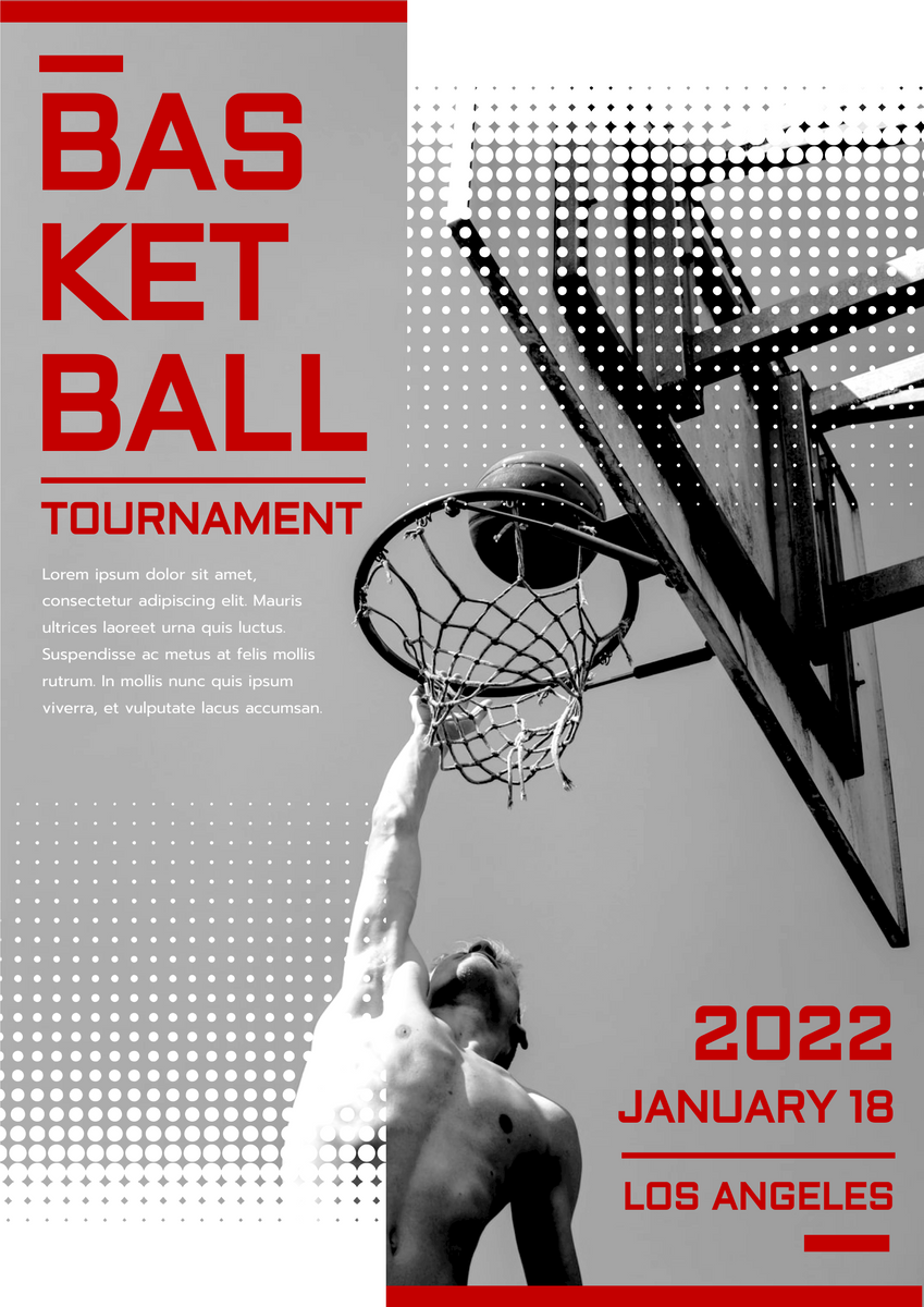 Poster template: Sharp Red Basketball Tournament 2021 Poster (Created by InfoART's Poster maker)