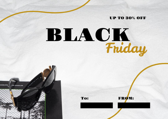 Gift Card template: Gold And Black Luxury Black Friday Gift Card (Created by InfoART's Gift Card maker)
