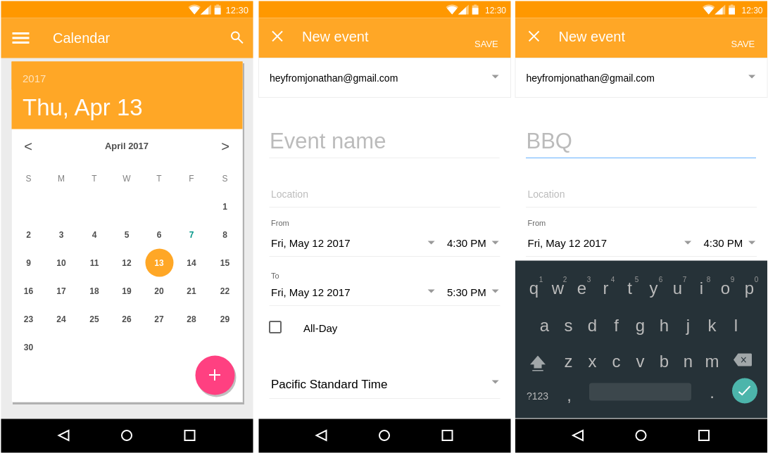 Calendar (Material Design Wireframe Example)