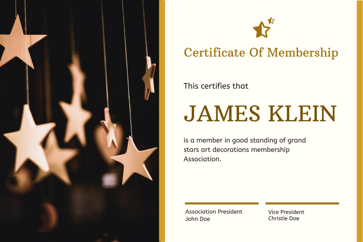 Certificate template: Gold Christmas Stars Photo Membership Certificate (Created by InfoART's Certificate maker)