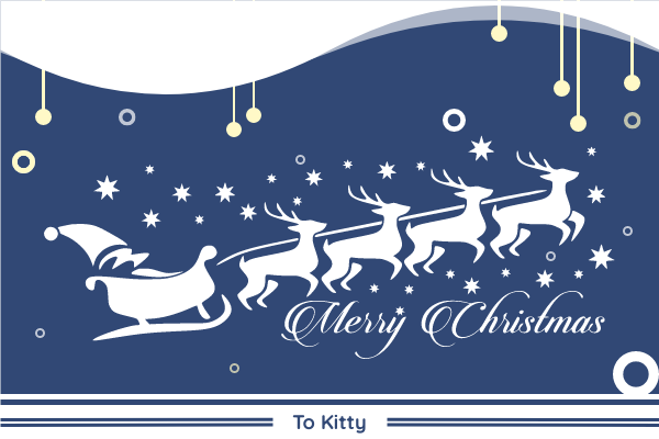 Greeting Card template: Blue And Yellow Christmas Card With Santa (Created by InfoART's Greeting Card maker)