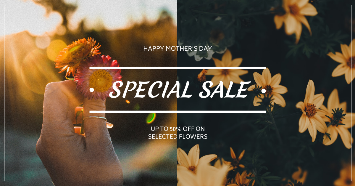 Facebook Ad template: Yellow Flowers Photo Mother's Day Sale Facebook Ad (Created by InfoART's Facebook Ad maker)