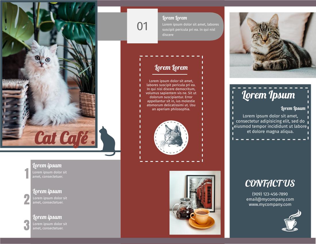 Brochure template: Cat Cafe Brochure (Created by InfoART's Brochure maker)