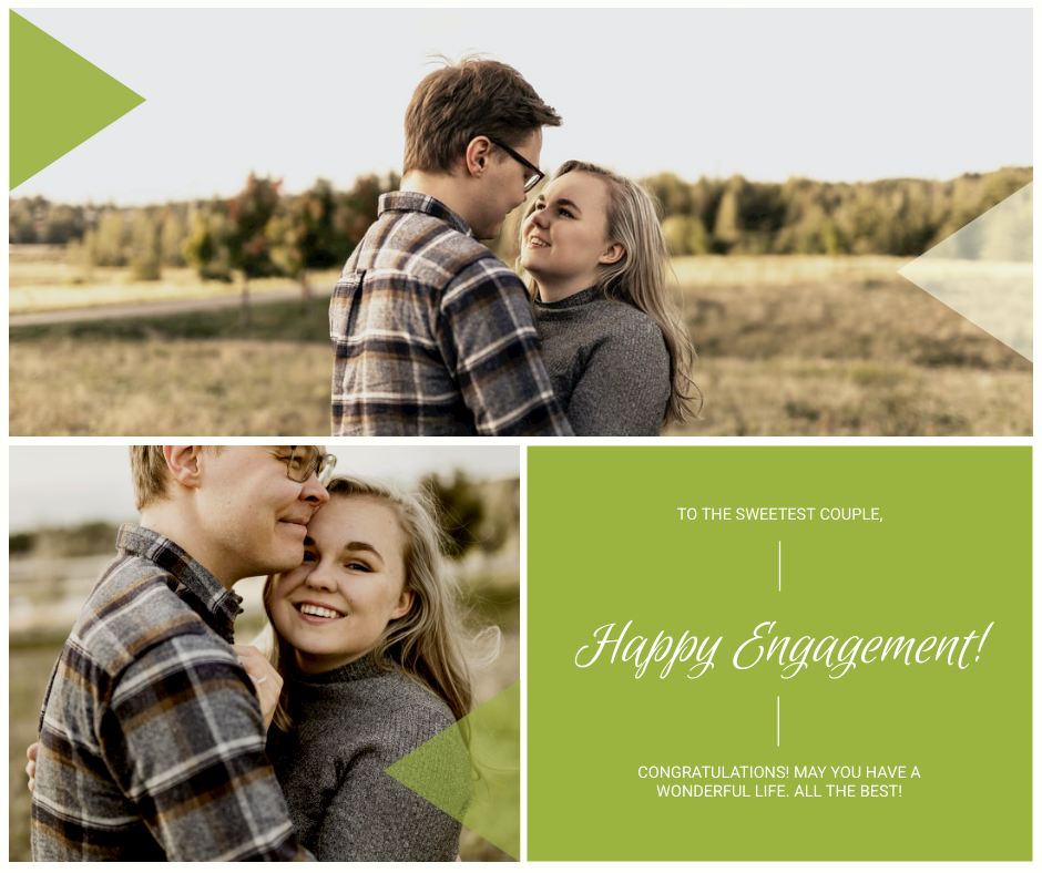 Facebook Post template: Green Couple Photo Happy Engagement Facebook Post (Created by InfoART's Facebook Post maker)