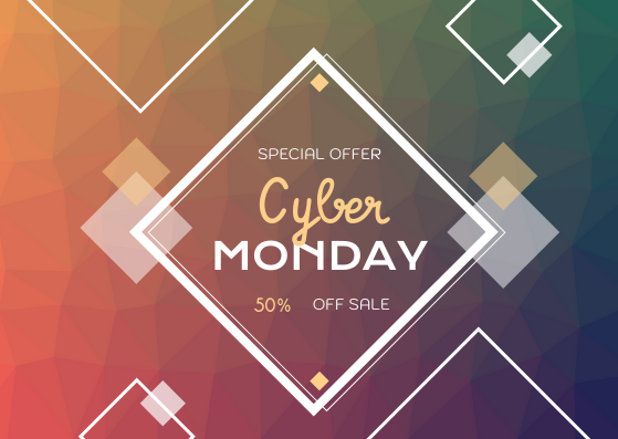 Gift Card template: Rainbow Squares Cyber Monday Gift Card (Created by InfoART's Gift Card maker)