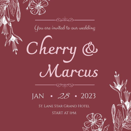 Invitation template: Simple Red Floral Pattern Wedding Invitation (Created by InfoART's Invitation marker)