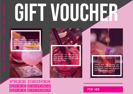 Gift Card template: Pink Cocktail Gift Card (Created by InfoART's Gift Card maker)