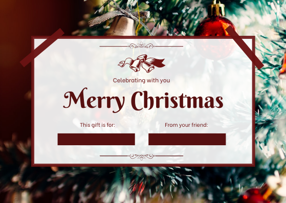 Gift Card template: Green Christmas Tree Celebration Gift Card (Created by InfoART's Gift Card maker)