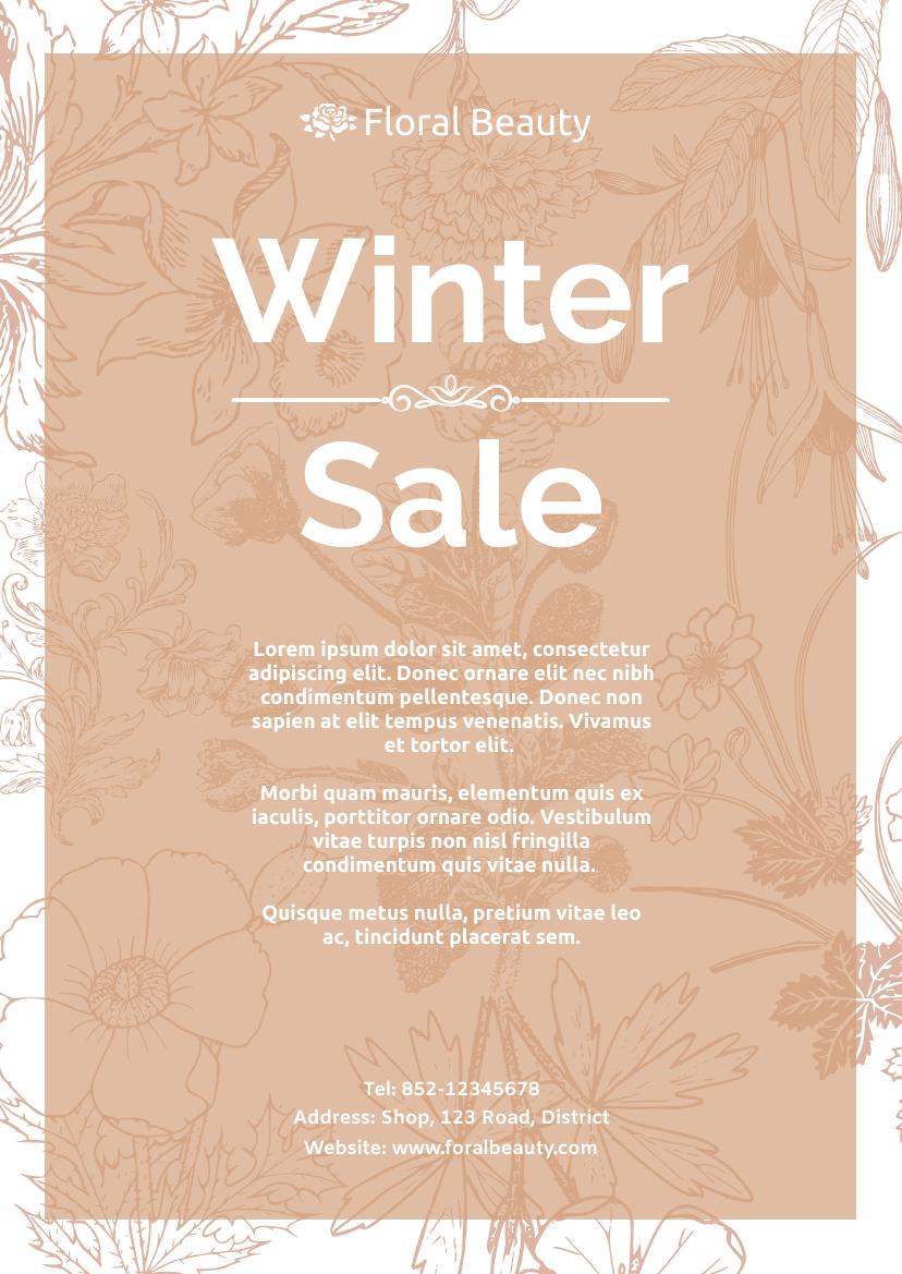 Flyer template: Floral Beauty Winter Sale Flyer (Created by InfoART's Flyer maker)