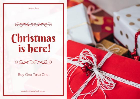 Gift Card template: Simple Red Christmas Is Here Gift Card (Created by InfoART's Gift Card maker)