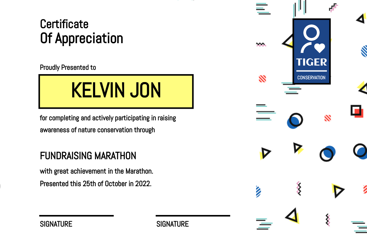 Certificate template: Mosaic Fundraising Marathon Certificate (Created by InfoART's Certificate maker)