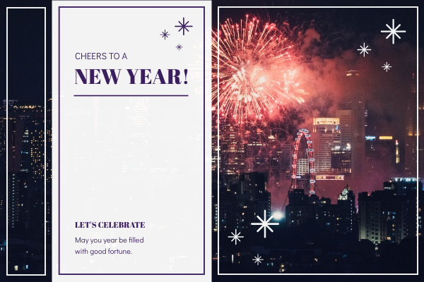 Greeting Card template: Purple Firework Background New Year Greeting Card (Created by InfoART's Greeting Card maker)