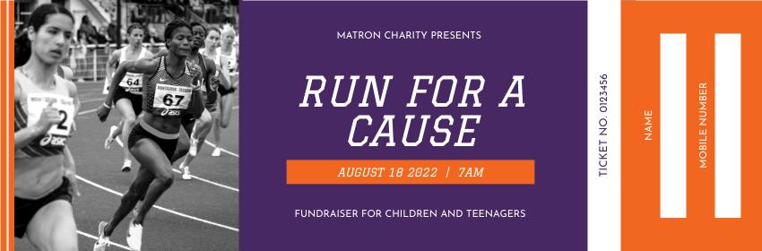 Ticket template: Marathon Charity Run Event Ticket (Created by InfoART's Ticket maker)