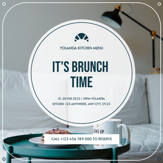 Invitation template: Blue Food Photo Brunch Restaurant Invitation (Created by InfoART's Invitation maker)