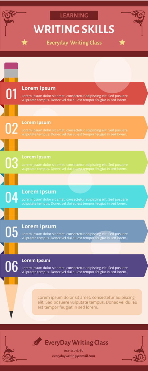 Infographic template: Writing Skills Infographic (Created by InfoART's Infographic maker)